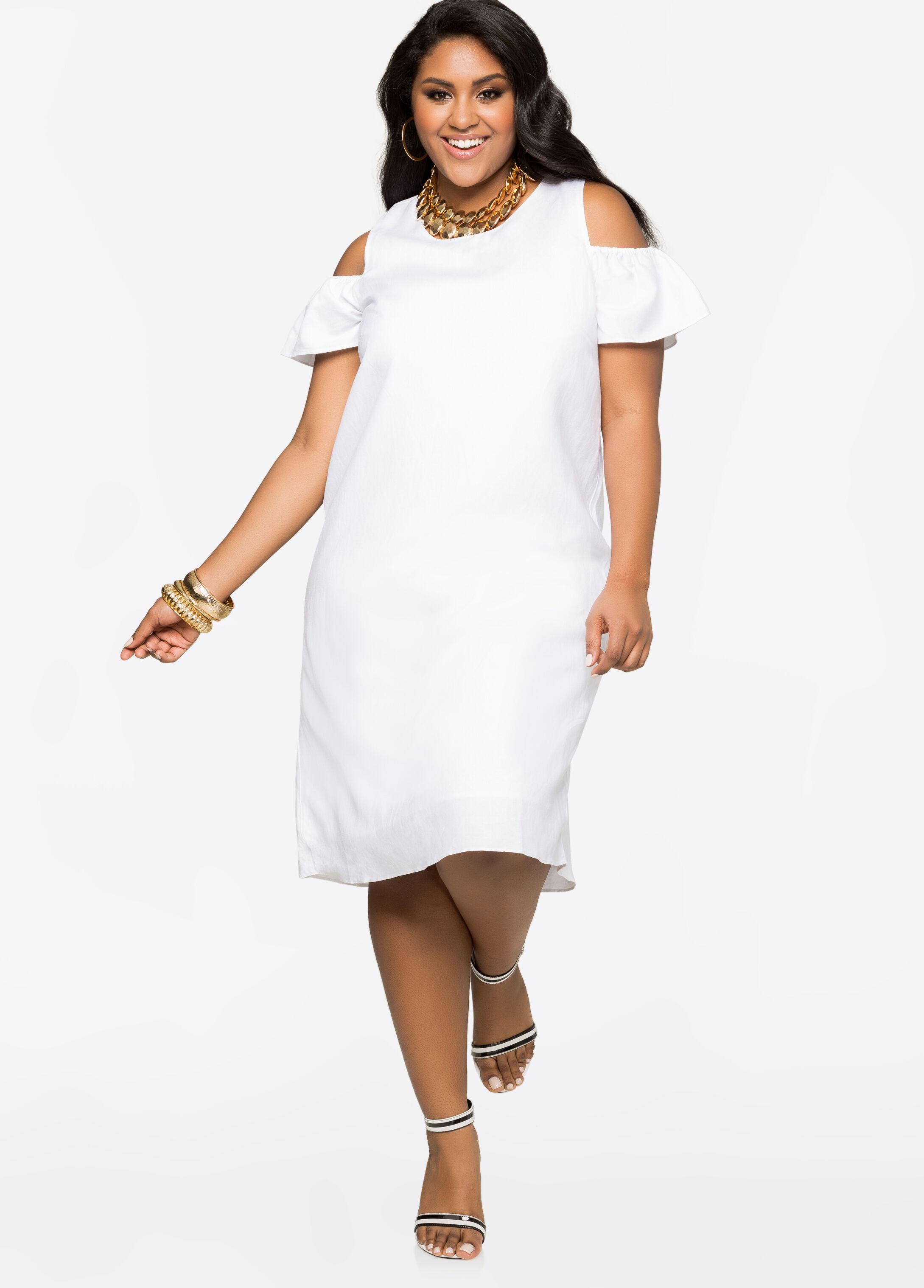 Plus Size White Linen Dresses