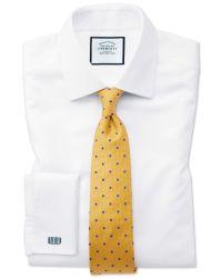 Gold and blue silk spot classic tie | Charles Tyrwhitt