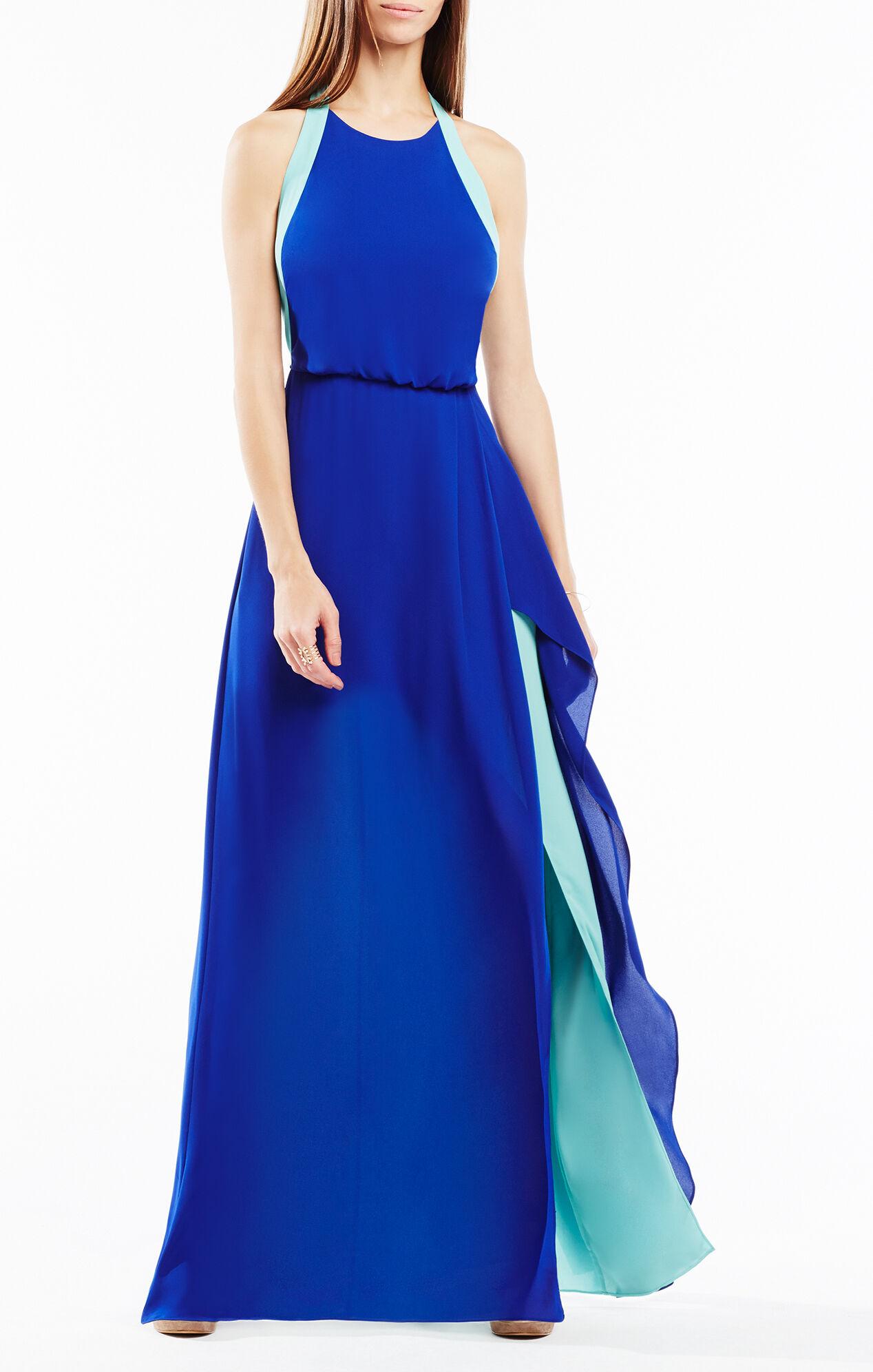 Colorblocked Halter Dresses