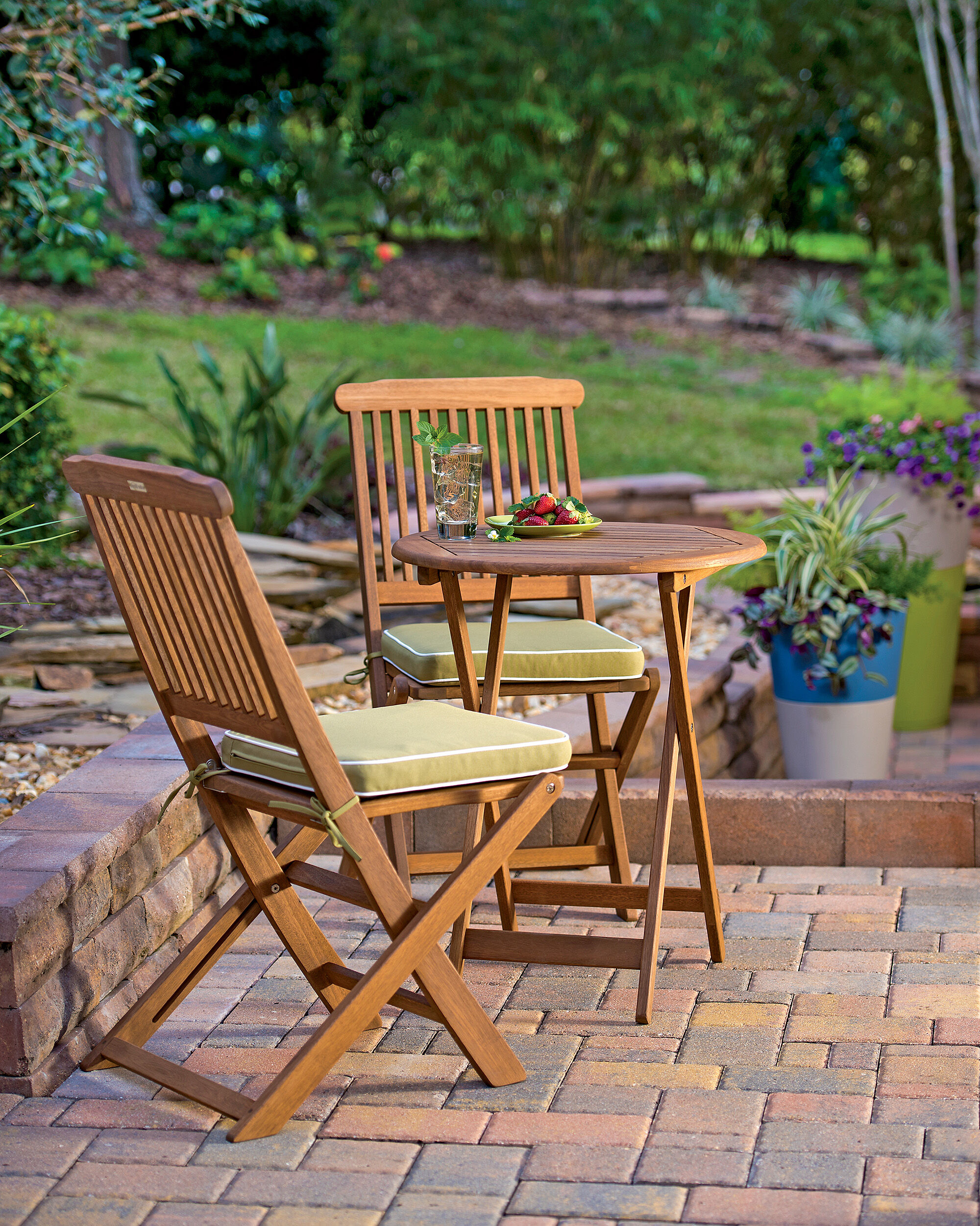3-piece Bistro Set - Folding Small Wood