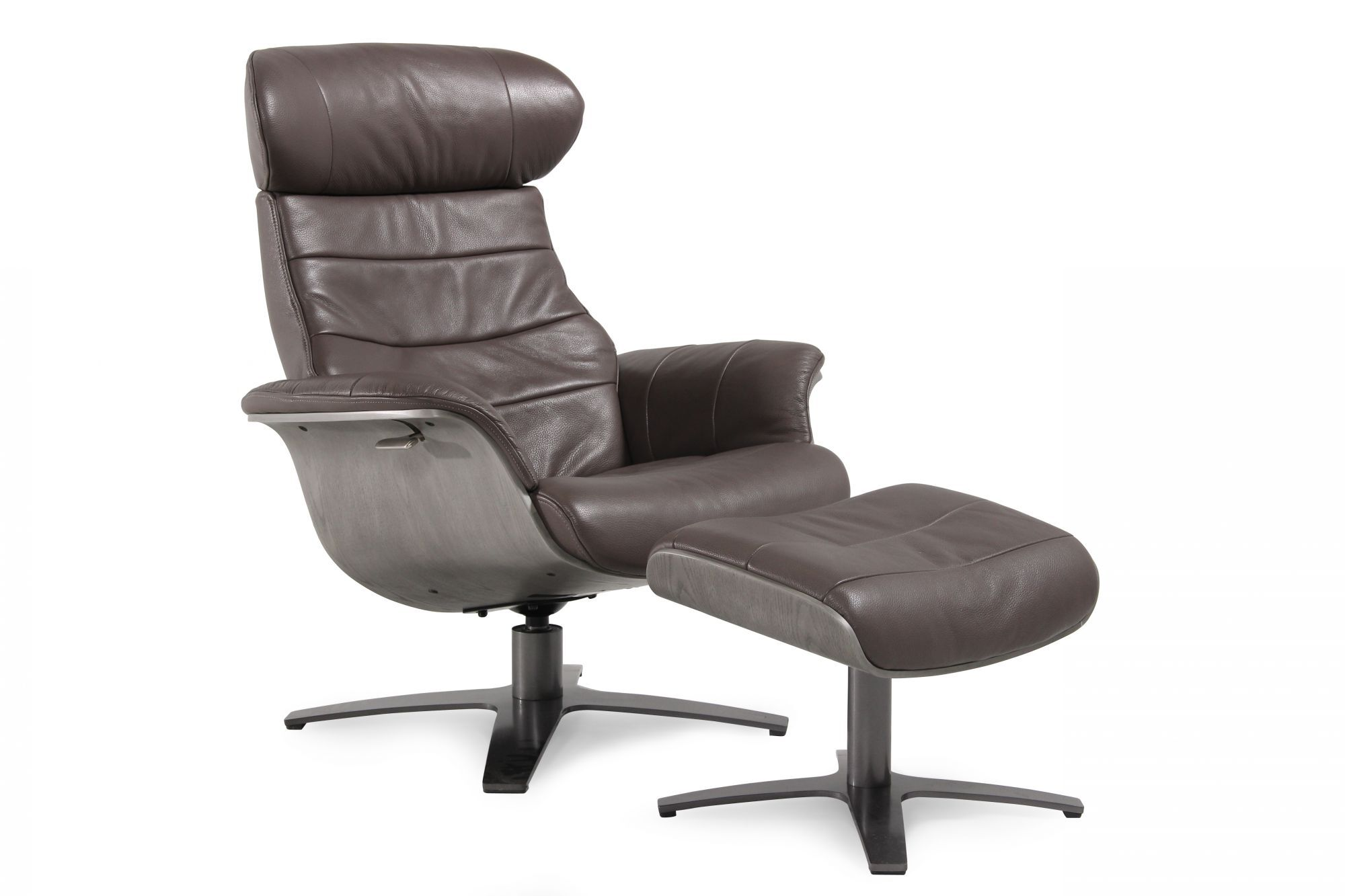 Gray Recliner Chair Boulevard Grey Leather Swivel Recliner And Ottoman
