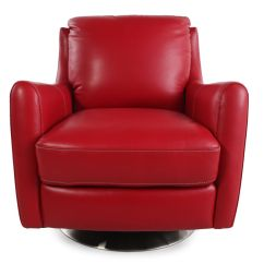 Leather Swivel Chair Ercol Windsor Rocking Cushions La Z Boy Xavier Red Mathis Brothers