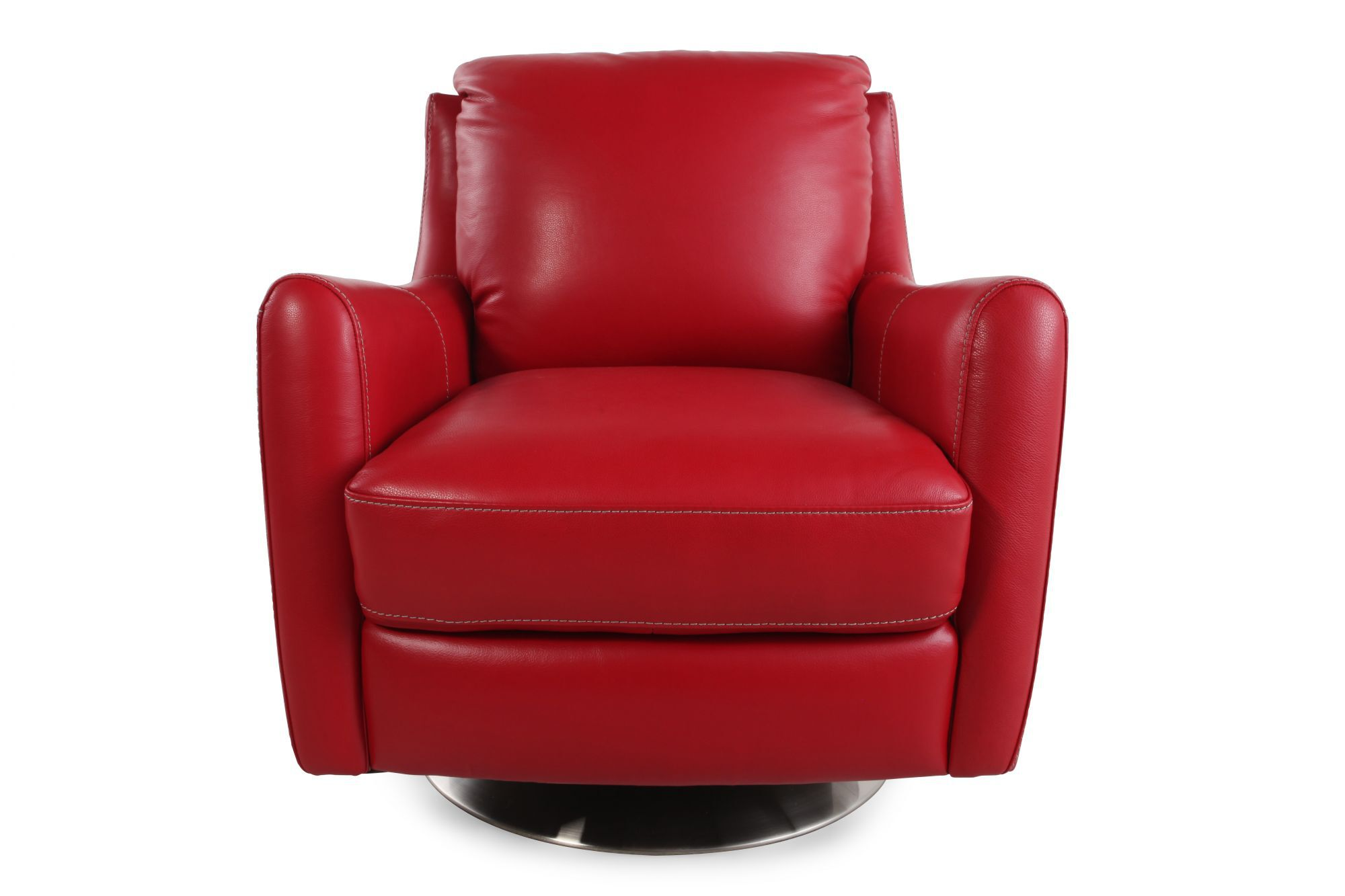 LaZBoy Xavier Red Leather Swivel Chair  Mathis Brothers