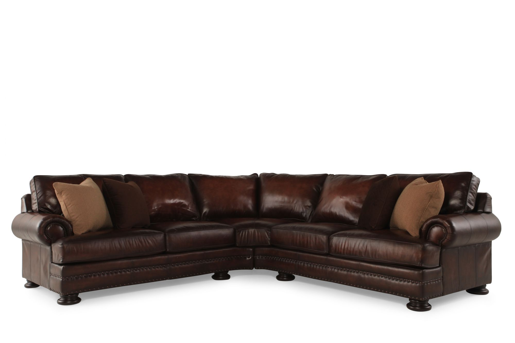 Bernhardt Foster Leather Sectional Mathis Brothers Furniture
