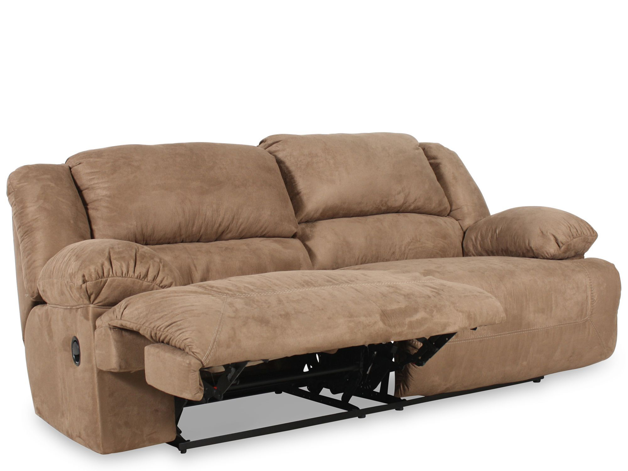 reclining two seat sofa convertible into bed ashley hogan mocha mathis