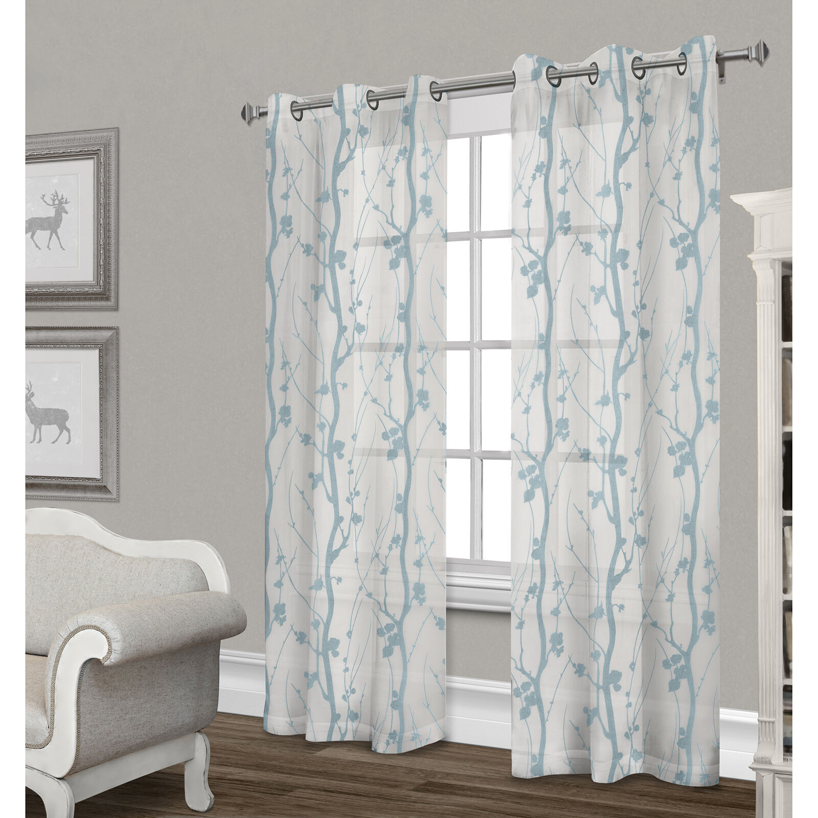 Corfu Sheer Curtain Panel White & Teal 84 In At Home
