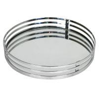 Round Vanity Mirror Tray, Chrome - At Home