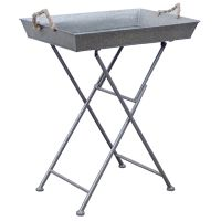 Silver Steel Folding Tray Table - At Home