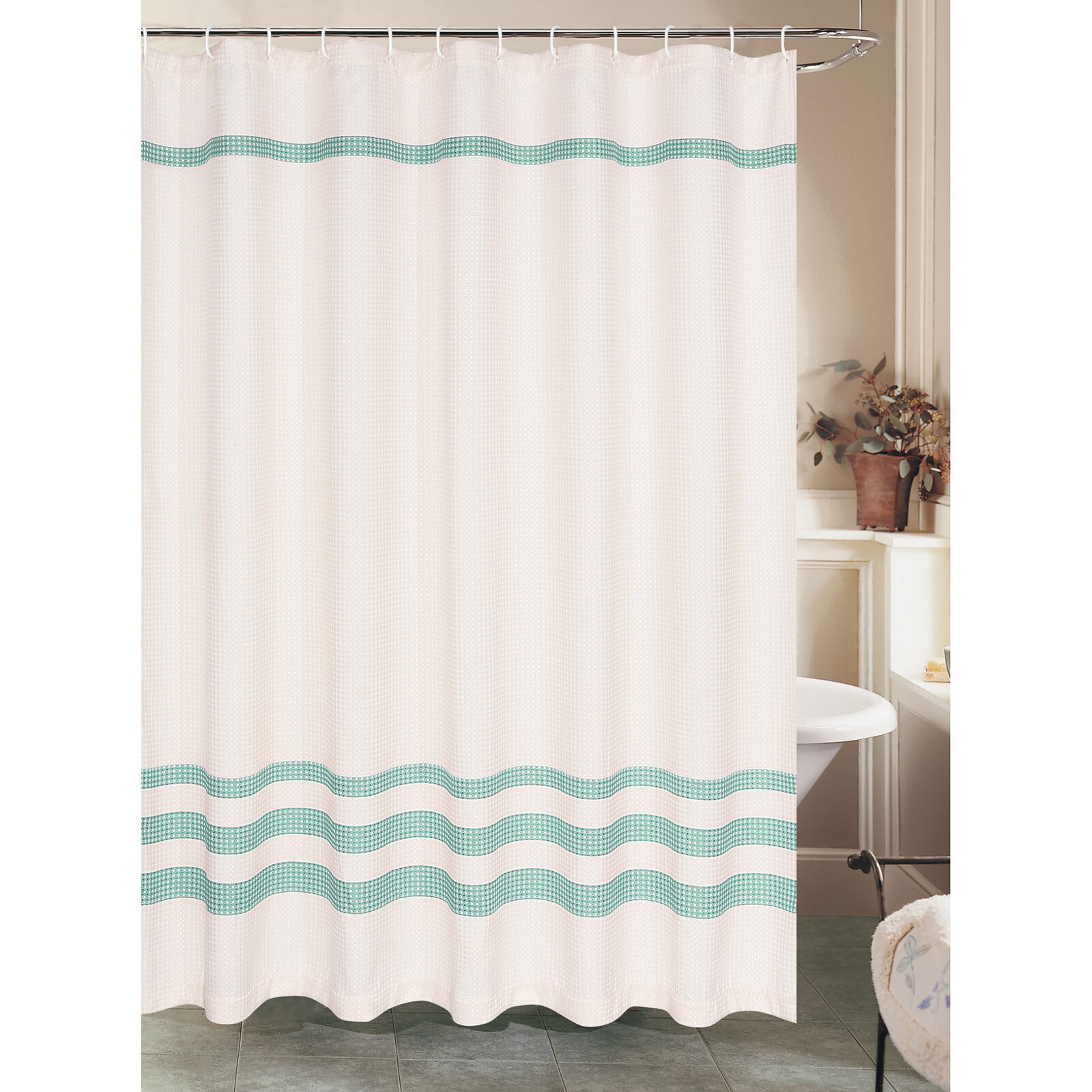 White Waffle Shower Curtain With Green Stripe Polyester At Home