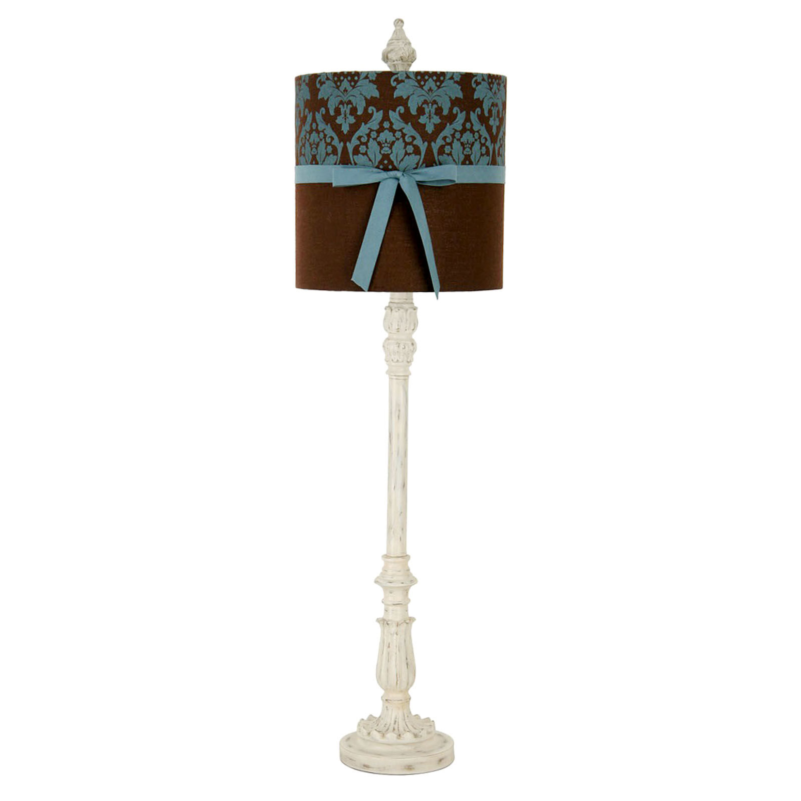 "25"" White Buffet Lamp with Brown Shade and Blue Ribbon"
