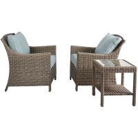 Laguna 3 Piece Wicker Chair and Table Set - At Home