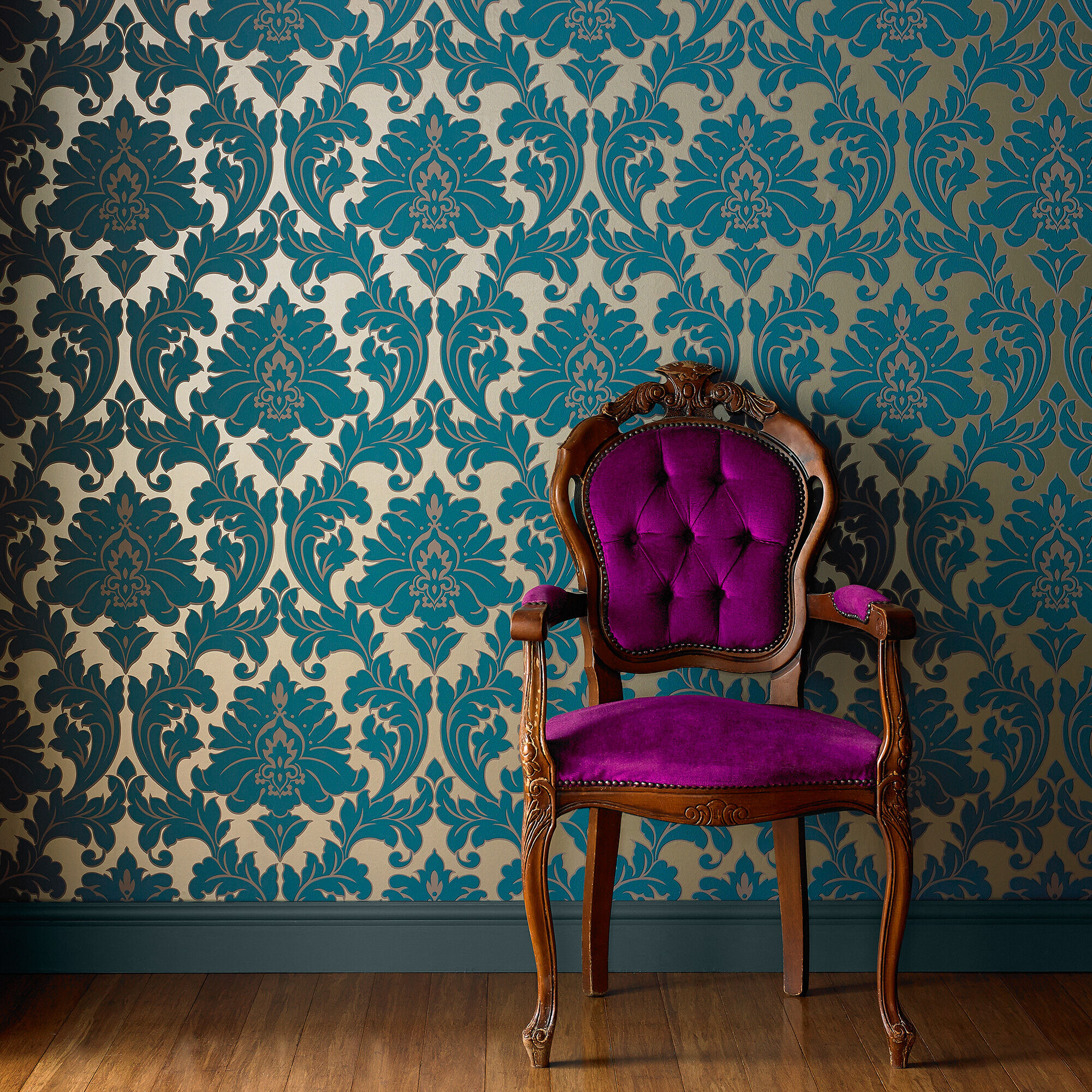 royal blue velvet sofa uk under 20000 majestic teal wallpaper | damask graham & brown
