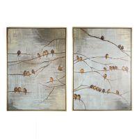Flock Of Birds Handpainted Framed Canvas - GrahamBrownUK