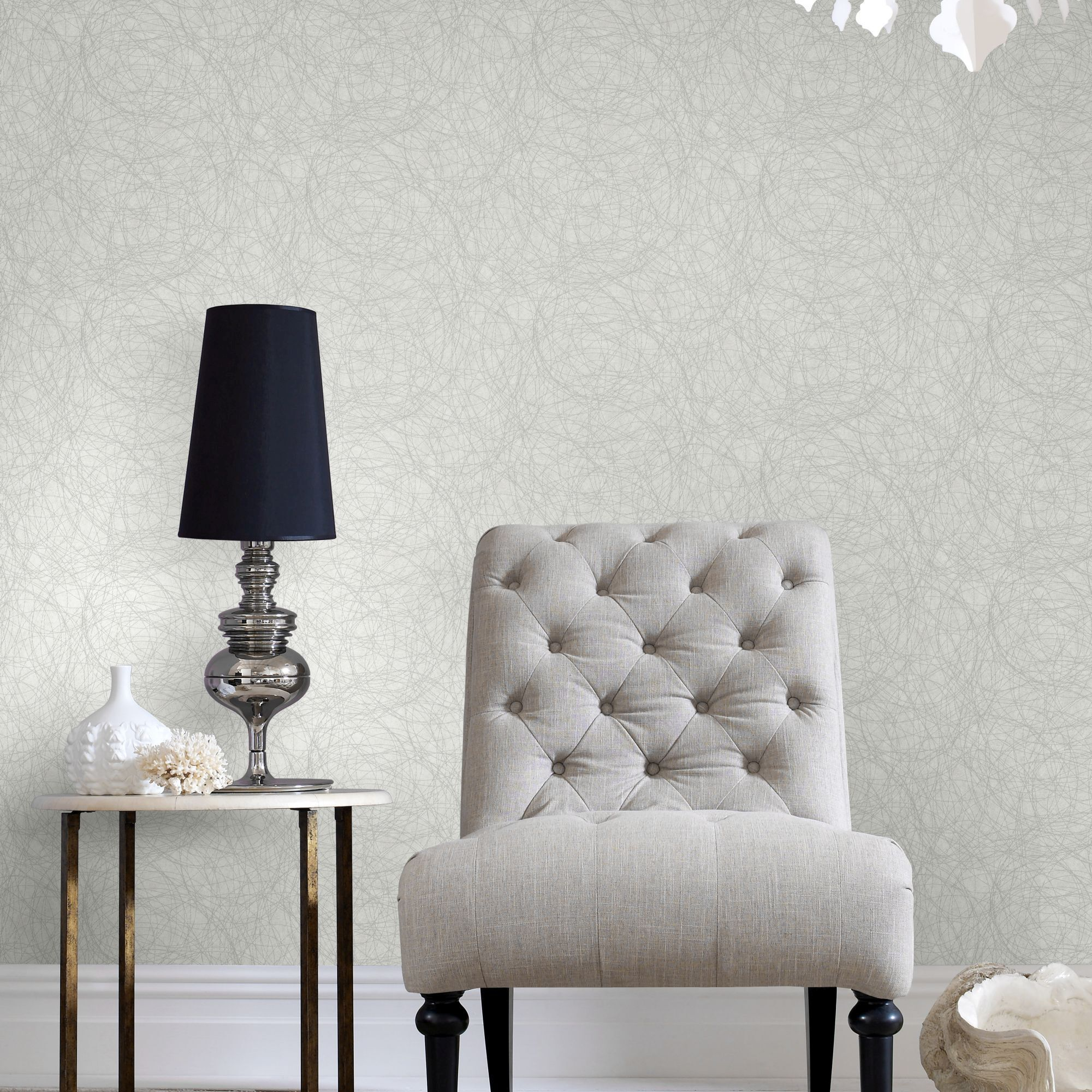 Twist White and Silver Wallpaper  Graham  Brown