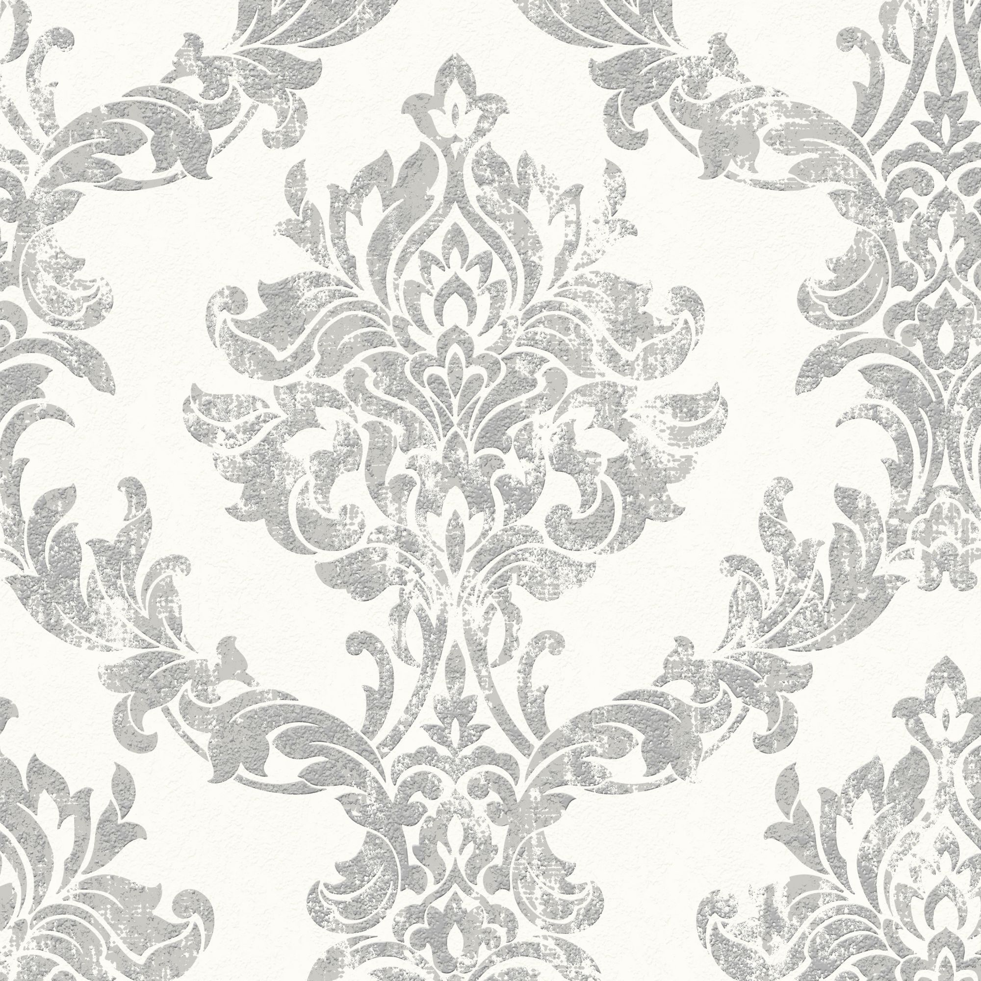 Opal Damask White and Silver Wallpaper  Graham  Brown