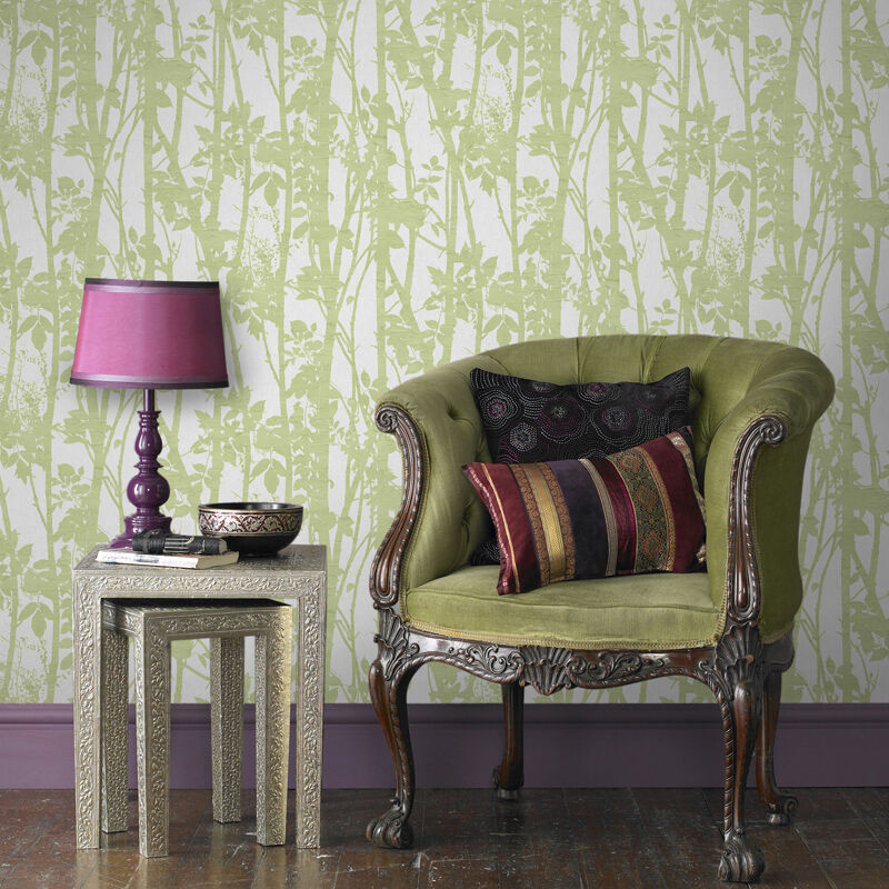 Fabric Branches Green Wallpaper Graham & Brown
