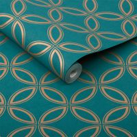 Eternity Teal and Gold Wallpaper