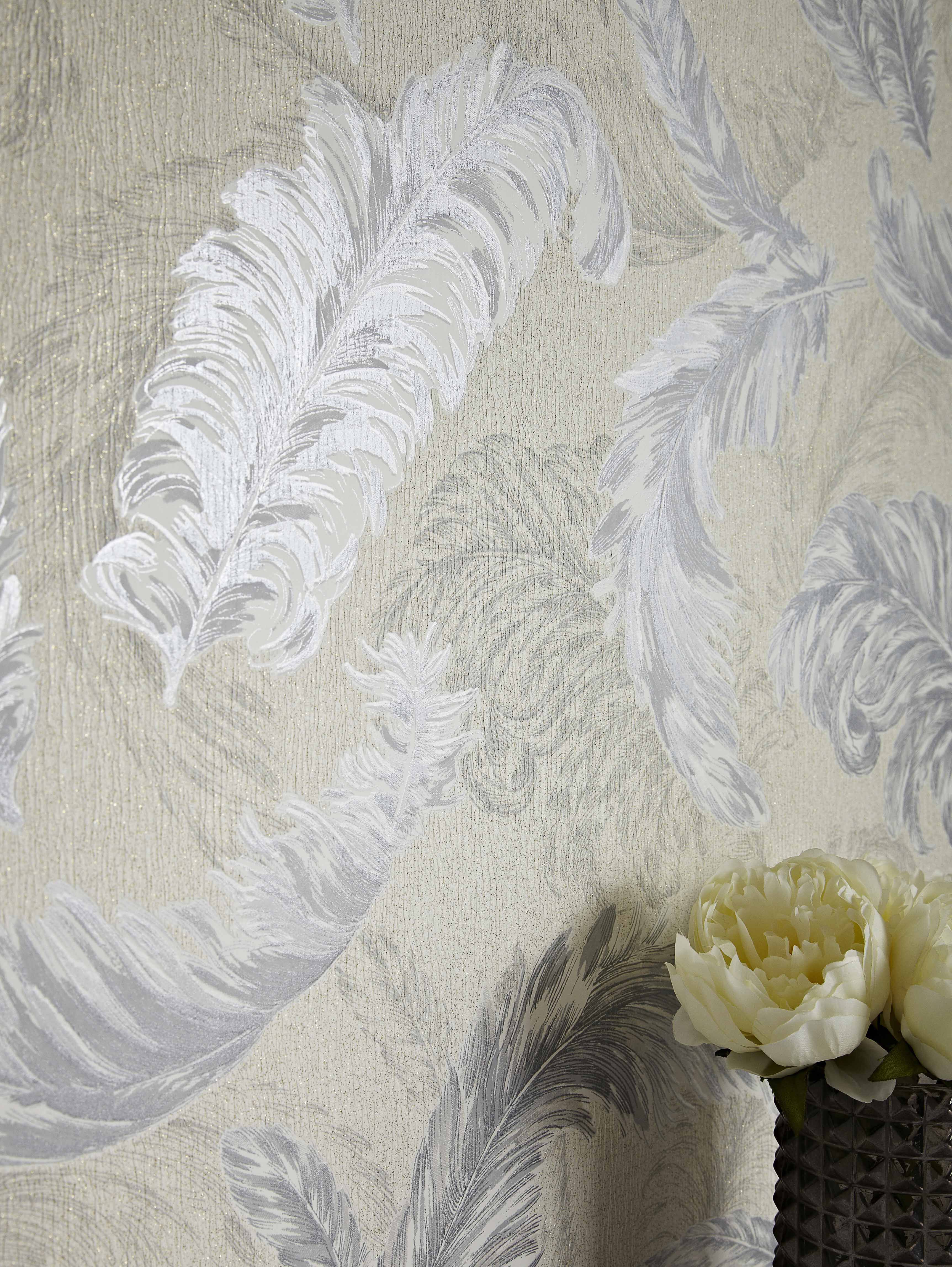Paint Falling Wallpaper Gilded Feather White And Silver Wallpaper Graham Amp Brown