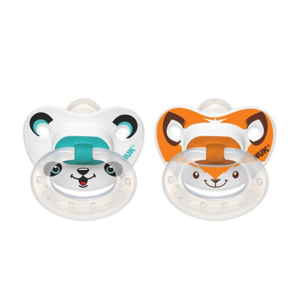 Animal Faces Orthodontic Pacifier 6-18 Months 2 Pack