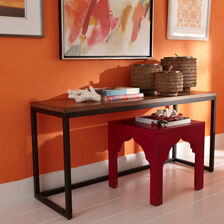 barrow sofa table faux leather replacement covers console tables | ethan allen canada