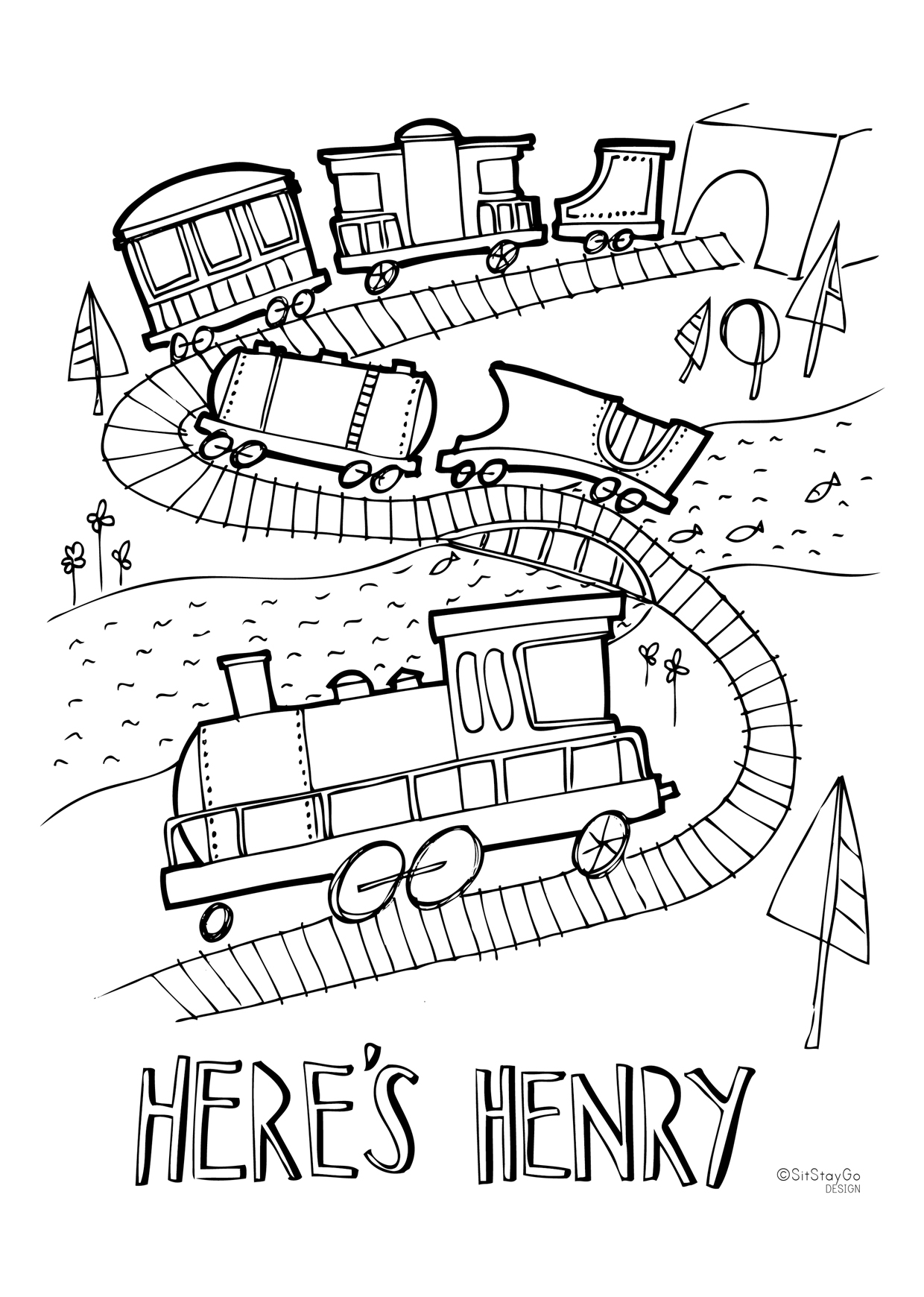 Sit Stay Go Fun Printable Train Colouring Activity