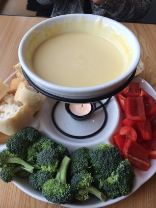 Cheese fondue on a cold day is the best