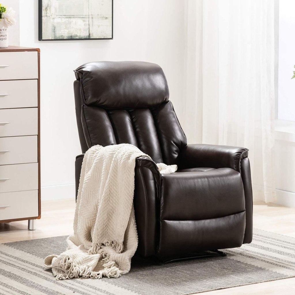Altrobene Modern Recliner Chair, Overstuffed, Heavy Duty, Breathable Bonded Leather for Living Room