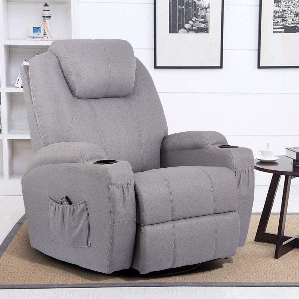 Esright Grey Fabric Massage Recliner Chair