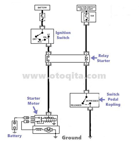Gambar Rangkaian Sistem Starter Mobil Dengan Relay