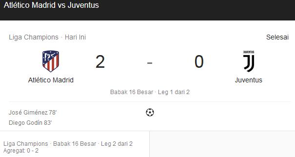 Dominasi Juventus Berakhir Dengan Kekalahan Atas Atletico Madrid
