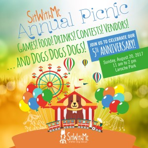 Sit With Me Annual Picnic. Games! Food! Drinks! Contests! Vendors! and Dogs Dogs Dogs! Join us to celebrate our 5th Anniversary! Sunday, August 20, 2017. 11 am to 2 pm. Laroche Park.