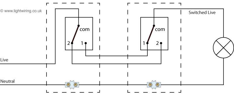 Как подключить проходной выключатель схема подключения на