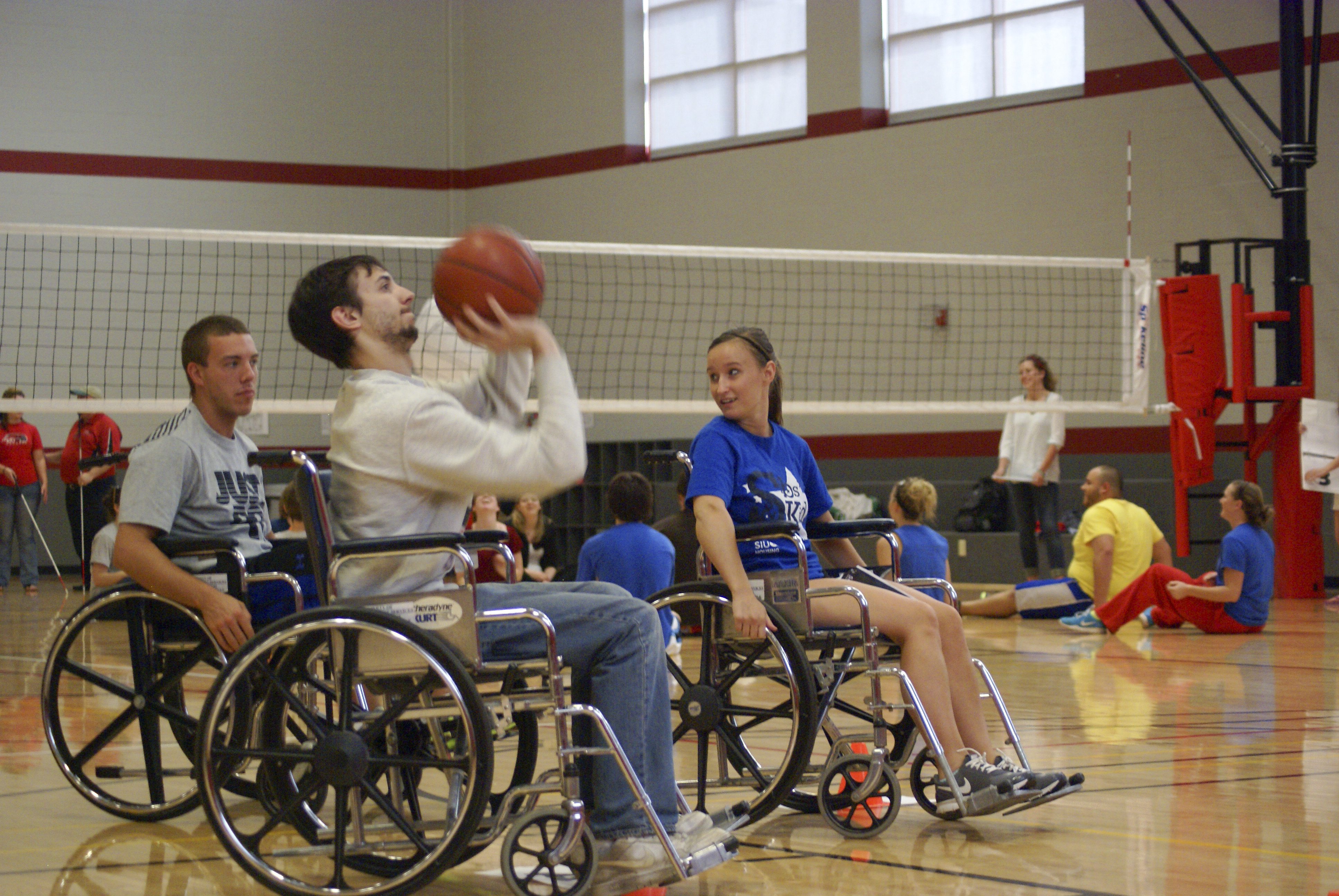 wheelchair volleyball school desk chair vintage cougar world games siue campus recreation great challenge basketball and sitting