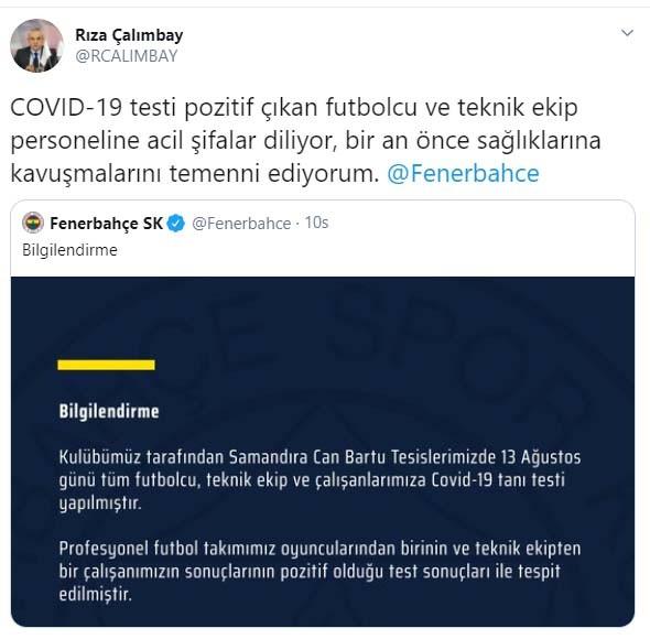 Çalımbay'dan Fenerbahçe'ye geçmiş olsun mesajı