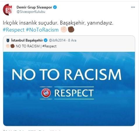 Sivasspor'dan PSG maçında sahadan çekilen Başakşehir'e destek
