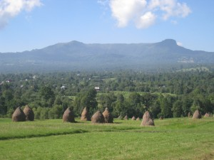 A view of the Maramures countryside, looking across from Breb to the Rooster's Crest (Creasta Cocosului)