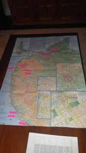 the map on our table - planning our adventure