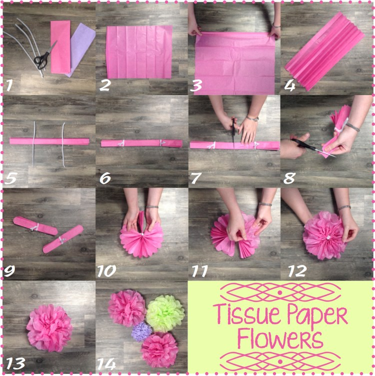 | Tissue Paper Flower | Tissue Paper Decor | Flower Tutorial | Party Decor | Whip up some of these tissue paper flowers in no time for any party decor . . . baby shower, wedding shower, birthday party! Find the tutorial at SixCleverSisters.com :-)