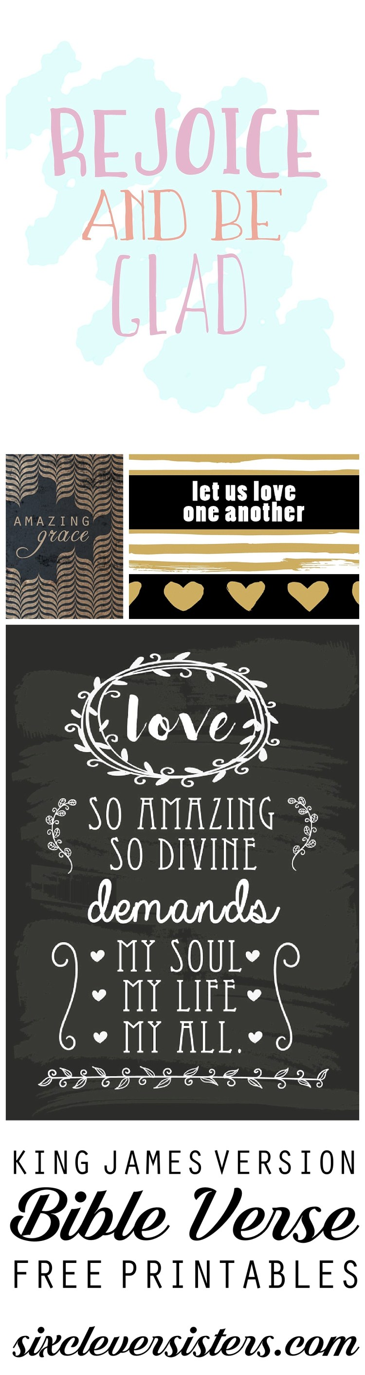 Free Bible Printables | KJV Verse Printable | Scripture Quote | Home Decor DIY | Find these free printable Bible verses on Six Clever Sisters. Print them out and decorate your home instantly!