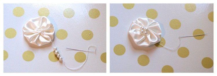 baby headband tutorial DIY easy rosette pearl