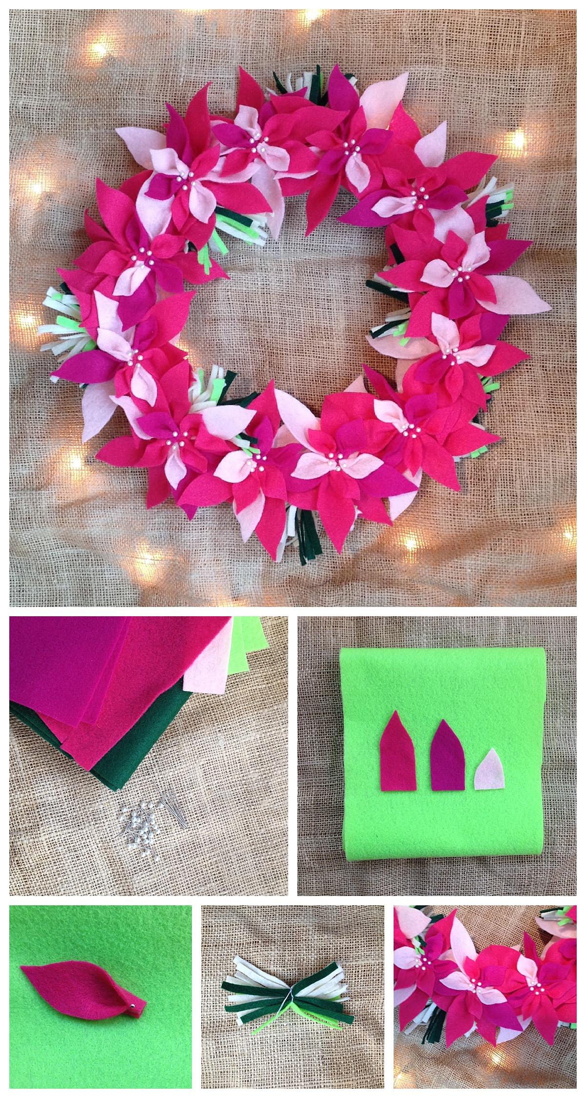 Diy Felt Poinsettia Christmas Wreath Six Clever Sisters