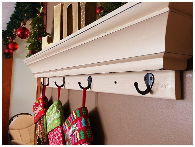 DIY floating shelf stocking hanger