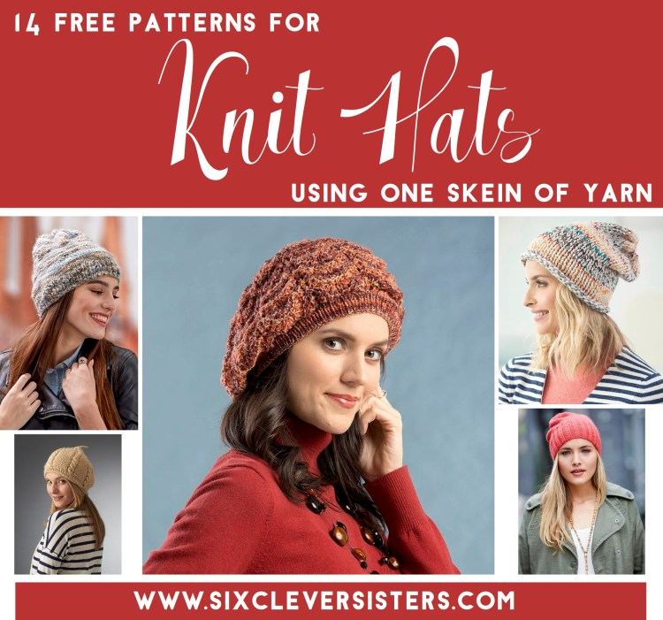 Knit Hats | One Skein Project | Free Knitting Patterns | One Skein Hats | Knitting Projects | Looking for a quick knit project that requires just one skein of yarn? Here are 14 free patterns for knit hats that use just one skein of yarn. Such a fun weekend project or a cute gift idea!