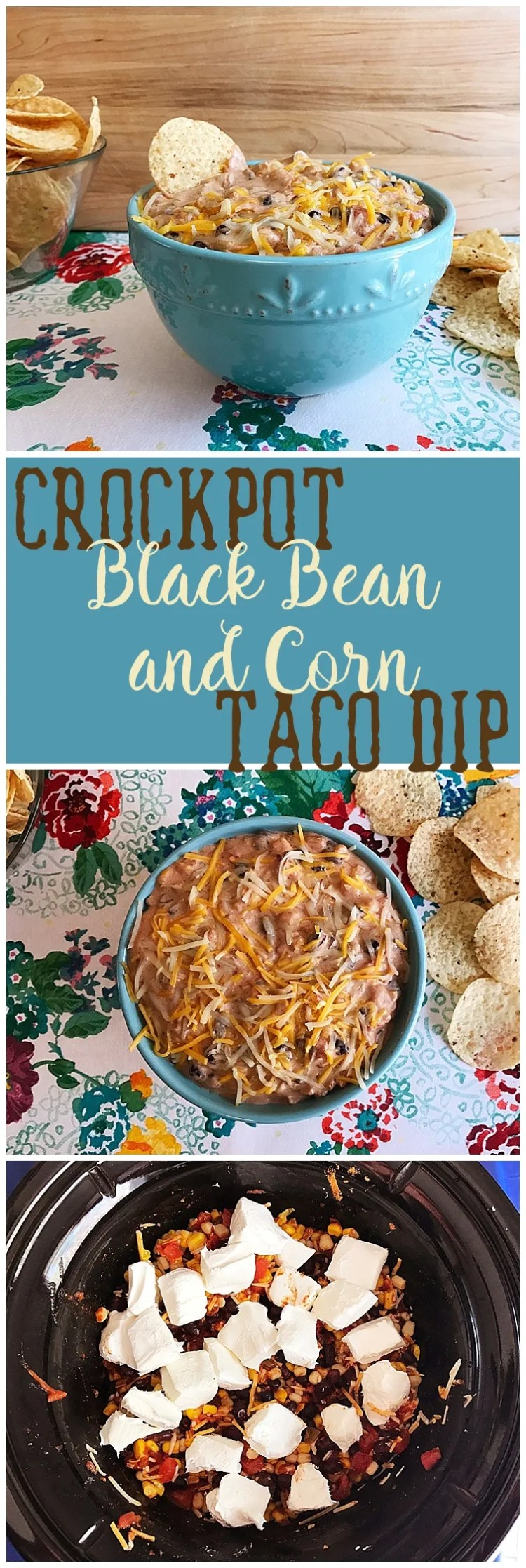 Crock Pot Black Bean and Corn Taco Dip | appetizer | taco dip | crockpot | recipe | Try this flavor packed appetizer, recipe from Six Clever Sisters.