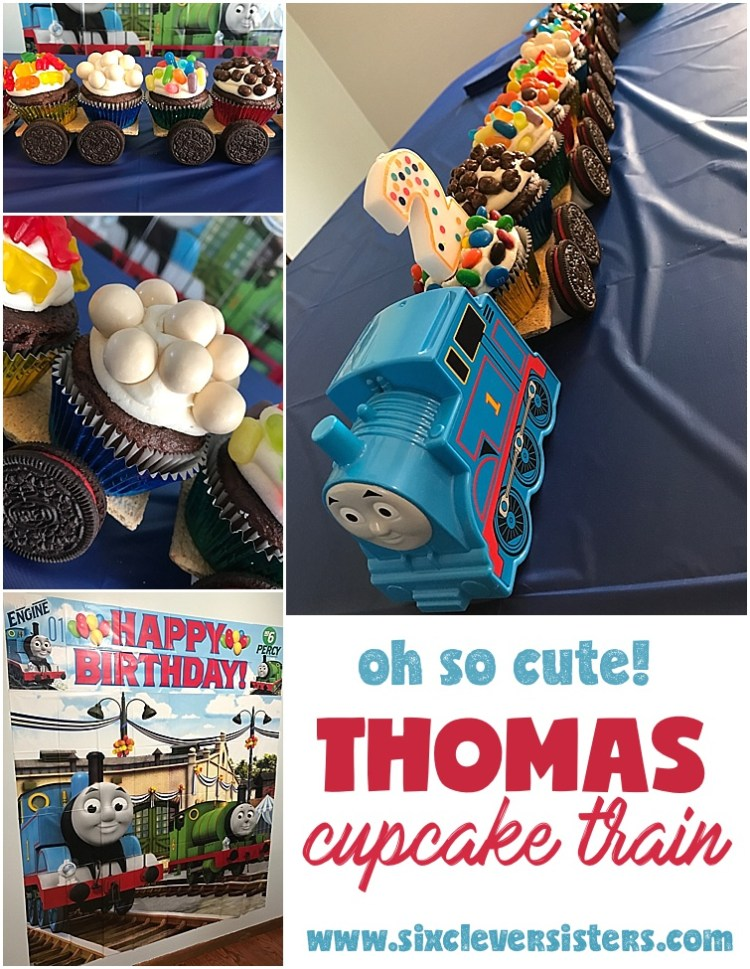 Thomas cupcake train | child birthday party | thomas the tank engine | cupcakes | birthday cake | thomas party | Make this adorable candy cupcake train for your little fella , instructions on Six Clever Sisters blog!