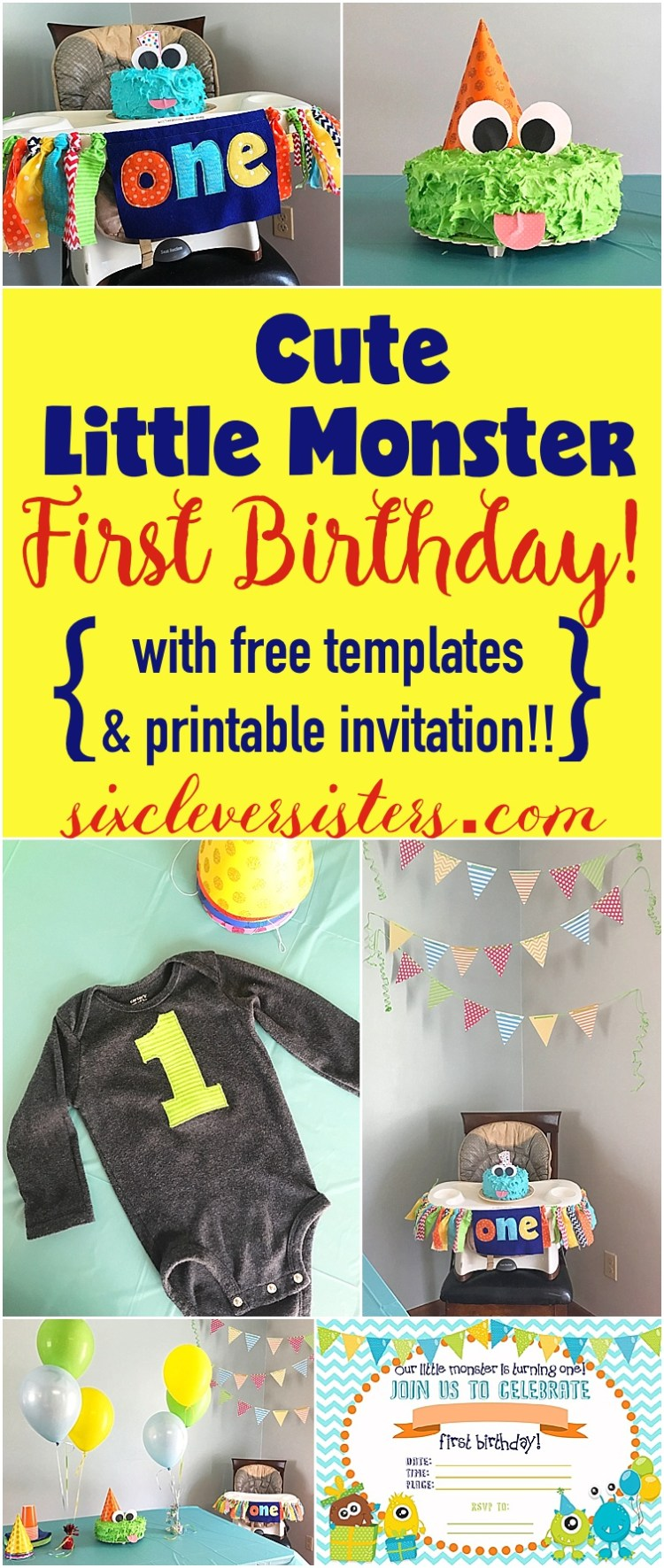Cute Little Monster FIRST BIRTHDAY! {with free templates and ...