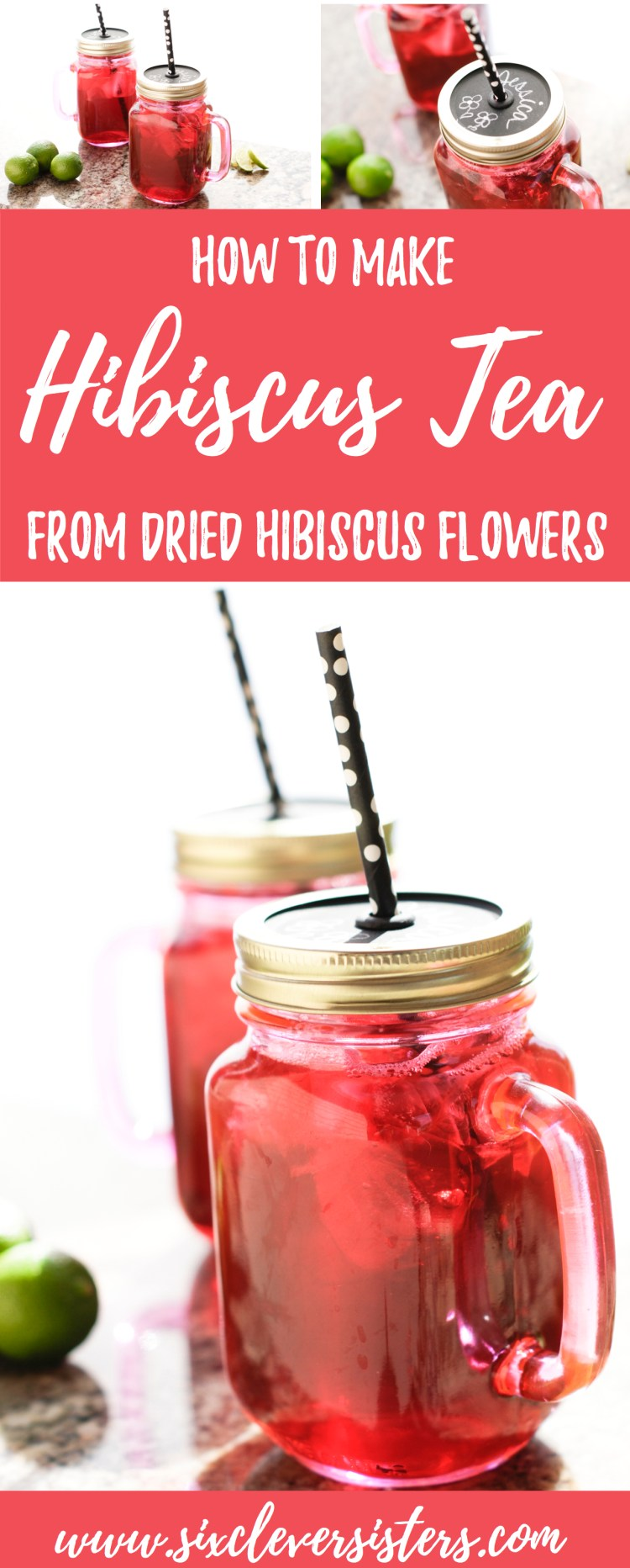 How to Make Hibiscus Tea | Brewing Tea | Low Calorie Drinks | Healthy Drink Recipes | Summer Drinks | Iced Tea Recipes | Caffeine Free Drinks | Hibiscus Tea Recipe | Drink Recipes | Summer Drinks | Have you ever seen dried hibiscus flowers and thought what do you do with those?! Six Clever Sisters has the perfect #recipe for you for an amazing refreshing tea! Yum . . . this hibiscus tea is so easy to make and sooooo good!!