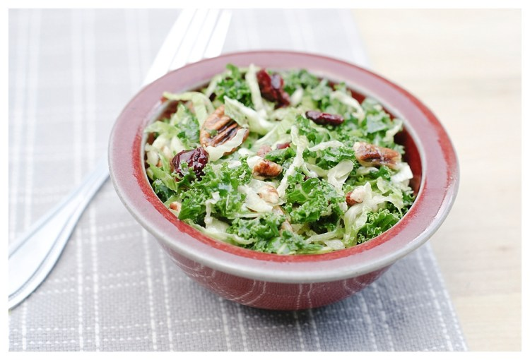 Cracker Barrel Copycat Brussel Sprouts n Kale Salad Recipe Vegan Healthy Salad Gluten free Pecans Craisins Maple Vinaigrette Six Clever Sisters