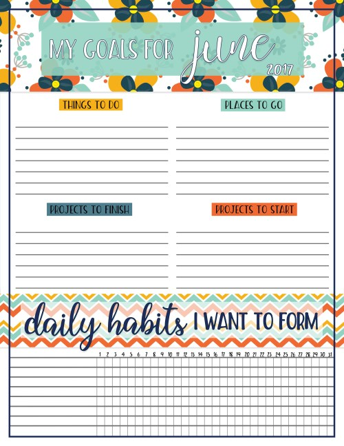 Free Download Goals Worksheet | Free Printable | Printable Worksheet | Goals Worksheet | Goals Printable | Download our free printable goals worksheet each month on the Six Clever Sisters blog!