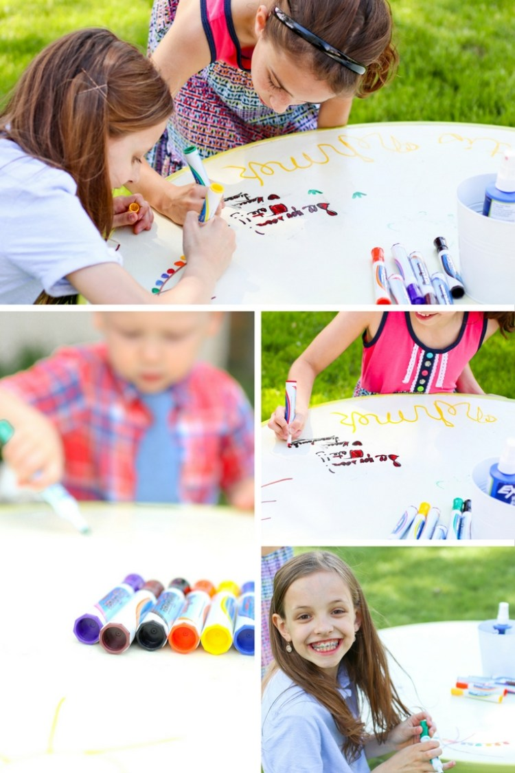 DIY Markerboard Table | Dry Erase Table | Kids' Activity Table | Kids' Markerboard Table | Markerboard Table Top | DIY Activity Table | Summer Fun Activity | Make this Kids' Activity Table for a fun summer activity for your kids! Find out how I made this for less than $20 at SixCleverSisters.com !!